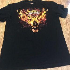 Harley Davidson Motor Cycles T-Shirt Large Fire 🔥